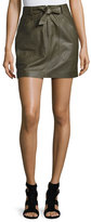 Rebecca Taylor Tie-Front Lamb Leather Mini Skirt, Olive