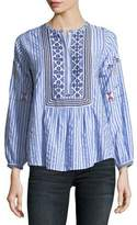 Joie Archana Striped Cotton Top w/ Embroidery
