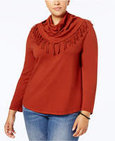 Style&Co. Style & Co Plus Size Fringed Cowl-Neck Sweater, Created for Macy's