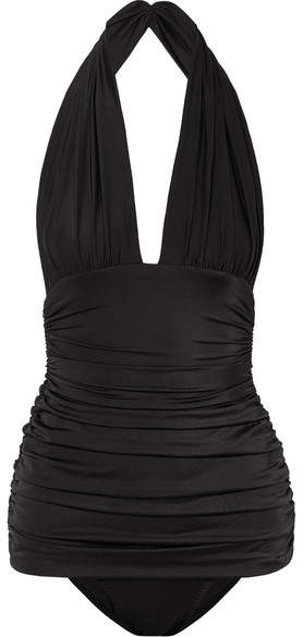 Norma Kamali Bill Ruched Halterneck Swimsuit - Black
