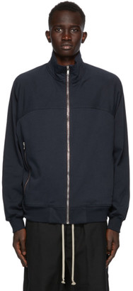 Rick Owens Navy Cotton Zip Jacket