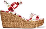 Dolce & Gabbana Sandalo coated floral-print leather wedge sandals