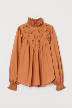 H&M Embroidered-detail Blouse - Orange