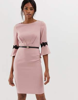 Paper Dolls 3/4 sleeve midi dress with flute sleeve-Pink
