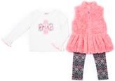Little Lass Salmon Faux Fur Vest Set - Infant, Toddler & Girls