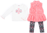 Little Lass Salmon Faux Fur Vest Set - Toddler & Girls