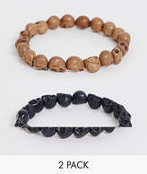 Reclaimed Vintage inspired beaded bracelet 2 pack with semi precious skulls exclusive to ASOS