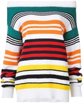 Rosie Assoulin Long Sleeve Striped Off-the-Shoulder Sweater