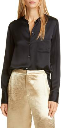 Vince Slim Fit Band Collar Silk Blouse