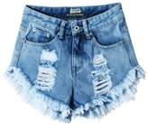 Mljsh Women's Juniors Destroyed Denim High Waist Distressed Cutoff Shorts Size 0