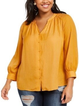 1 STATE Trendy Plus Size Shadow-Striped V-Neck Top