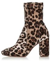 River Island Womens Brown leopard print wide fit block heel boots