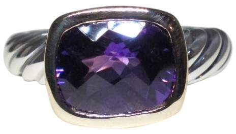 David Yurman 18K Gold & Sterling Silver with Amethyst Ring Size 6
