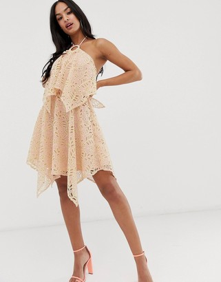 Asos Design DESIGN mini dress with double layer in cutwork lace-Pink
