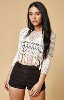 MinkPink Henna Crochet Fringe Sweater