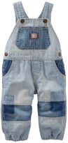Osh Kosh Jersey-Lined Patchwork Hickory Stripe Overalls