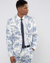 Asos Wedding Skinny Suit Jacket In Blue And White Cotton Floral Print