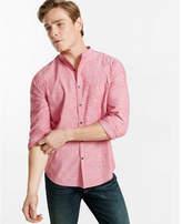 Express slim band collar chambray shirt