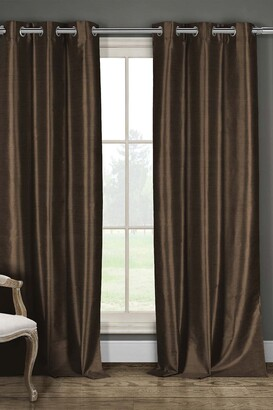 Duck River Textile Daenery's Faux Silk Foamback Grommet Curtains 96L - Set of 2 - Chocolate