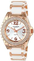 Akribos XXIV Women's AK514WTR Quartz Movement Watch with Silver Dial and Rose Gold and White Ceramic Bracelet