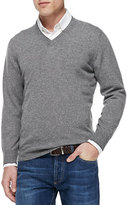 Brunello Cucinelli Cashmere V-Neck Pullover Sweater, Gray