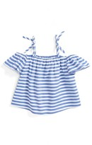 Milly Minis Girl's Chambray Off The Shoulder Top