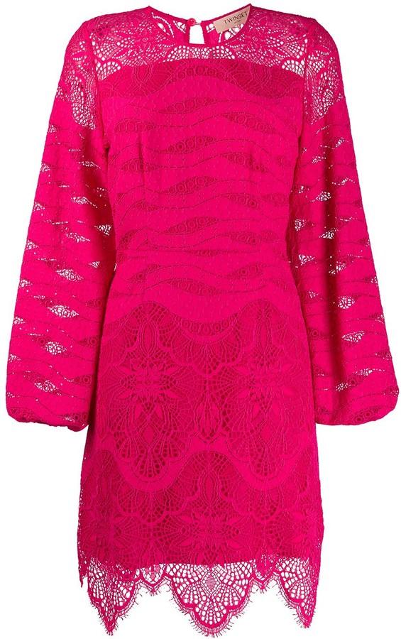 Twin-Set Long Sleeve Lace Layered Dress