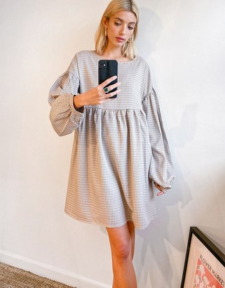 Urban Threads balloon sleeve mini check smock dress in sand green