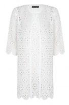 Select Fashion Fashion Womens White Crochet Longline Jacket - size 6