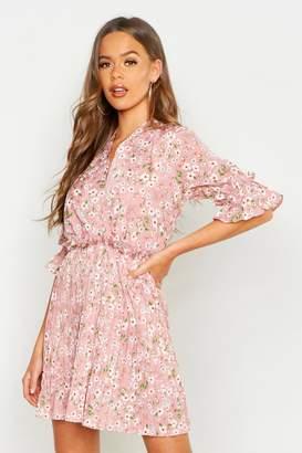 boohoo Floral Print Pleated Frill Smock Dress