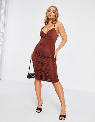 Club L London satin gathered mini dress in burnt orange