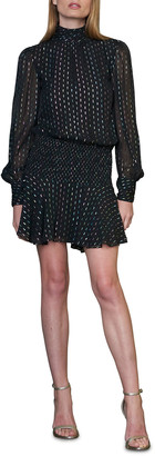 ML Monique Lhuillier Metallic Mock-Neck Long-Sleeve Smocked Waist Mini Dress