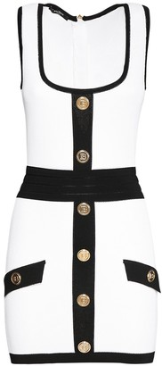 Balmain Two-Tone Buttoned Knit Mini Dress