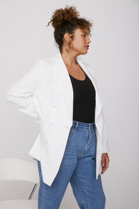 Nasty Gal Womens Get to Work Plus Double Breasted Blazer - Black - 16