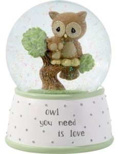 Precious Moments Owl You Need Is Love Musical Resin & Glass Snow Globe 183101