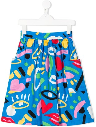 Stella McCartney Abstract Face Print Skirt