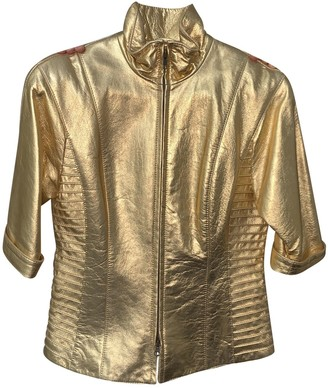 Non Signé / Unsigned Non Signe / Unsigned Gold Leather Jacket for Women
