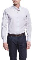Neiman Marcus Micro-Print Sport Shirt, Silver/Gray