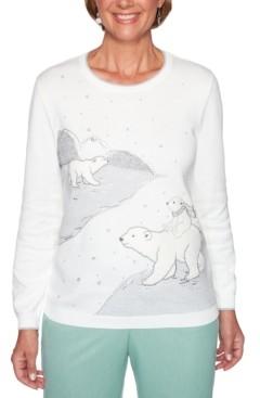 Alfred Dunner Petite Lake Geneva Polar Bears Sweater