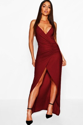 boohoo Crepe Plunge Wrap Detail Maxi Dress