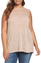 Bobeau Plus Size Women's Embroided Mesh Yoke Knit Top