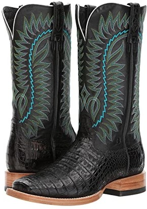 Ariat Relentless Gold Buckle (Black Caiman Belly/Bayou Black) Cowboy Boots