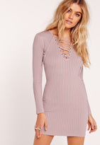 Missguided Lace Up Mini Sweater Dress Purple