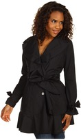 Cole Haan Packable Trench with Ruffle Detail (Black) - Apparel