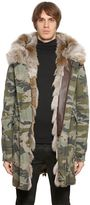 Mr&mrs Italy Coyote Fur Camouflage Canvas Parka