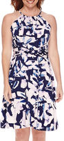 London Times London Style Collection Sleeveless Halter Floral Fit and Flare Dress - Petite
