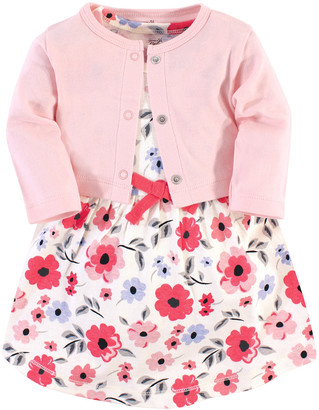 Touched By Nature Touched by Nature Girls' Casual Dresses Coral - Coral Garden Organic Cotton A-Line Dress & Pink Cardigan - Infant, Toddler & Girls
