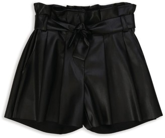 Zadig & Voltaire Faux Leather Paperbag-Waist Shorts (6-16 Years)