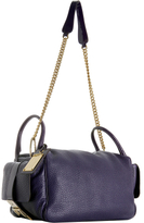 violet leather side handle bag