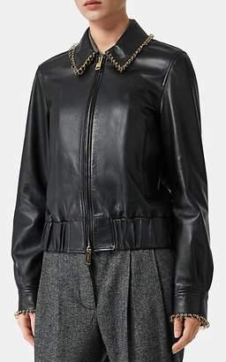 Burberry Women's Ring-Embellished Leather Bomber Jacket - Black